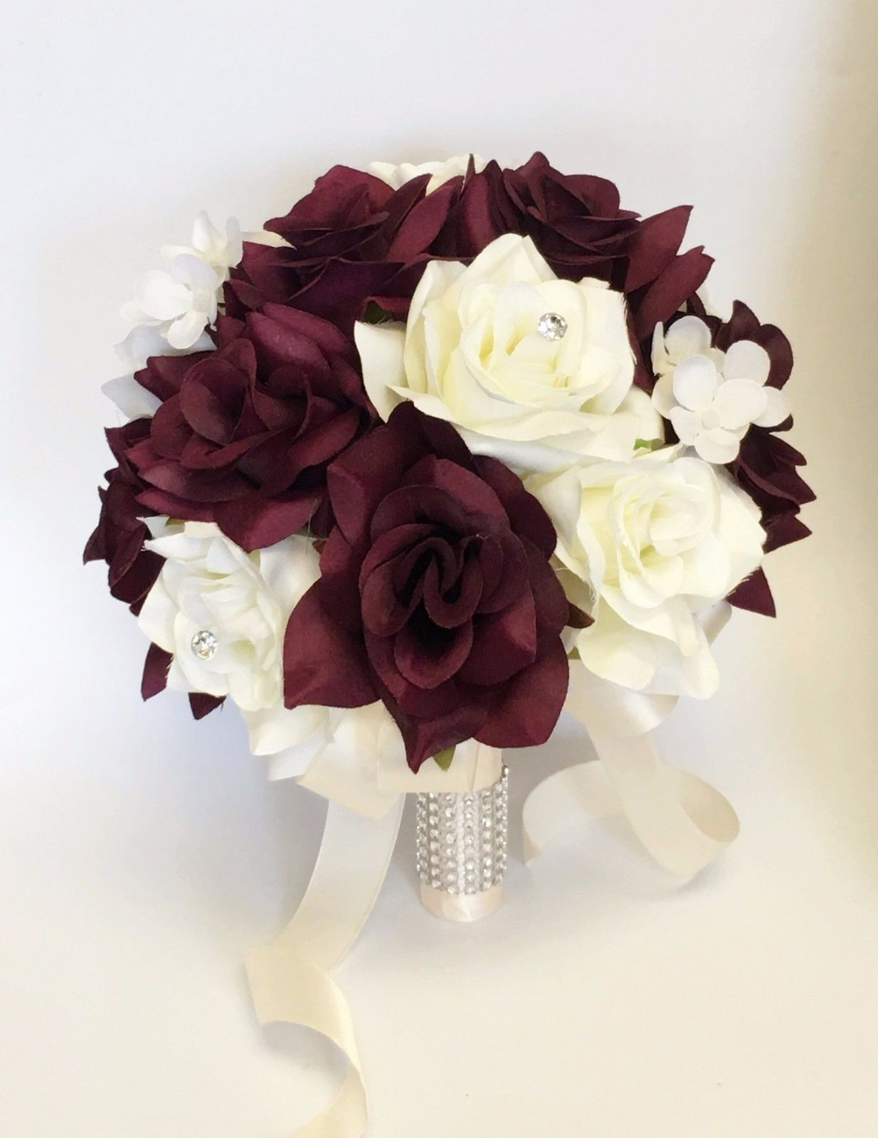 Details About Artificial Rose Hydrangea Bouquet Deep Burgundy Wine Ivory Wedding Theme